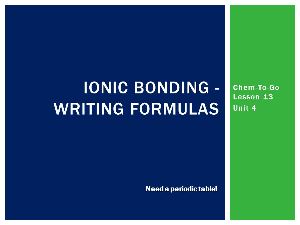 Chem-To-Go Lesson 13 Unit 4 IONIC BONDING - WRITING FORMULAS Need a periodic table!