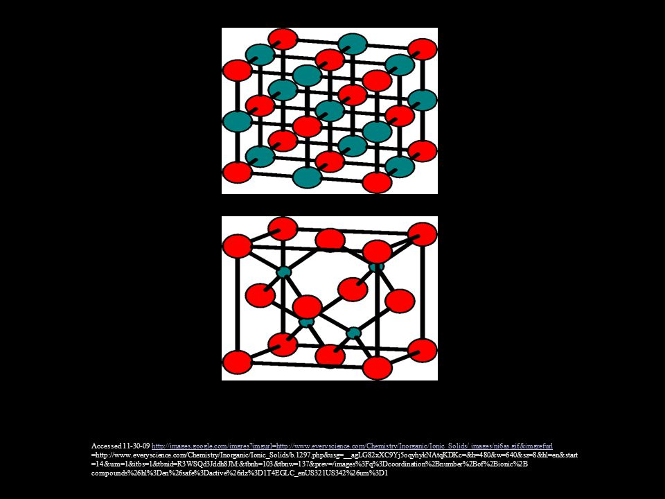 Accessed 11-30-09 http://images.google.com/imgres imgurl=http://www.everyscience.com/Chemistry/Inorganic/Ionic_Solids/.images/ni6as.gif&imgrefurlhttp://images.google.com/imgres imgurl=http://www.everyscience.com/Chemistry/Inorganic/Ionic_Solids/.images/ni6as.gif&imgrefurl =http://www.everyscience.com/Chemistry/Inorganic/Ionic_Solids/b.1297.php&usg=__agLG82xXC9Yj5oqyhykNAtqKDKc=&h=480&w=640&sz=8&hl=en&start =14&um=1&itbs=1&tbnid=R3WSQd3Jddh8JM:&tbnh=103&tbnw=137&prev=/images%3Fq%3Dcoordination%2Bnumber%2Bof%2Bionic%2B compounds%26hl%3Den%26safe%3Dactive%26rlz%3D1T4EGLC_enUS321US342%26um%3D1