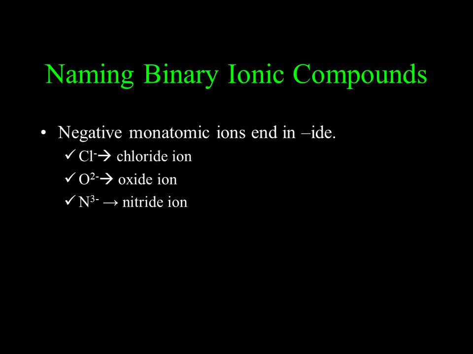 Naming Binary Ionic Compounds Negative monatomic ions end in –ide.