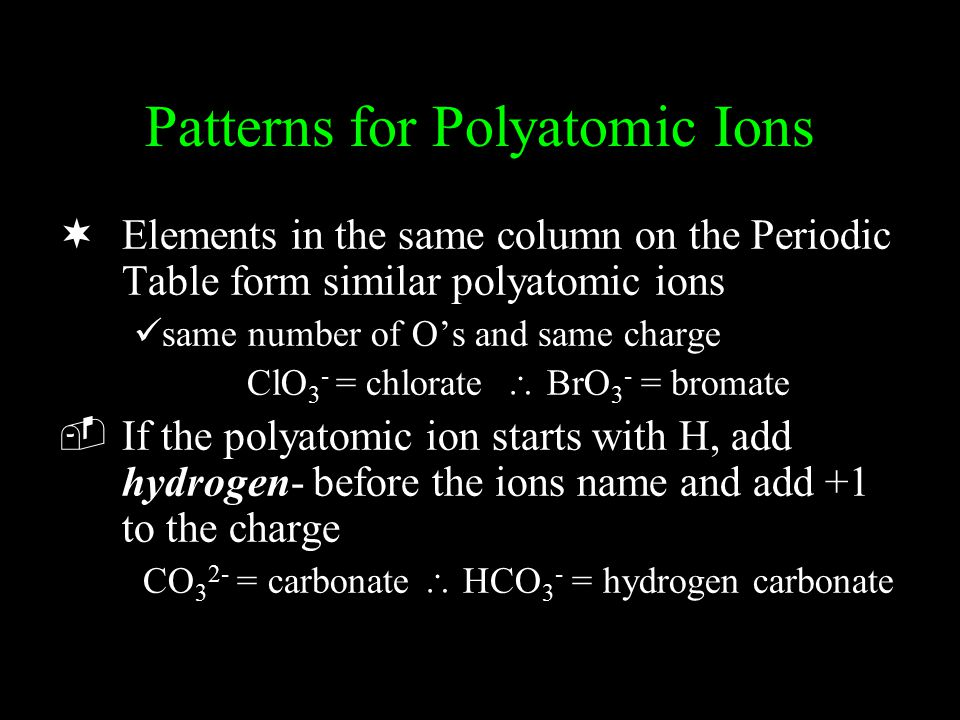 Patterns for Polyatomic Ions ¬Elements in the same column on the Periodic Table form similar polyatomic ions same number of O's and same charge ClO 3 - = chlorate  BrO 3 - = bromate ­If the polyatomic ion starts with H, add hydrogen- before the ions name and add +1 to the charge CO 3 2- = carbonate  HCO 3 - = hydrogen carbonate
