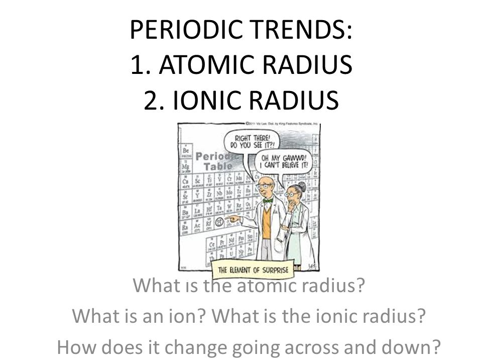 PERIODIC TRENDS: 1. ATOMIC RADIUS 2. IONIC RADIUS What is the atomic radius.