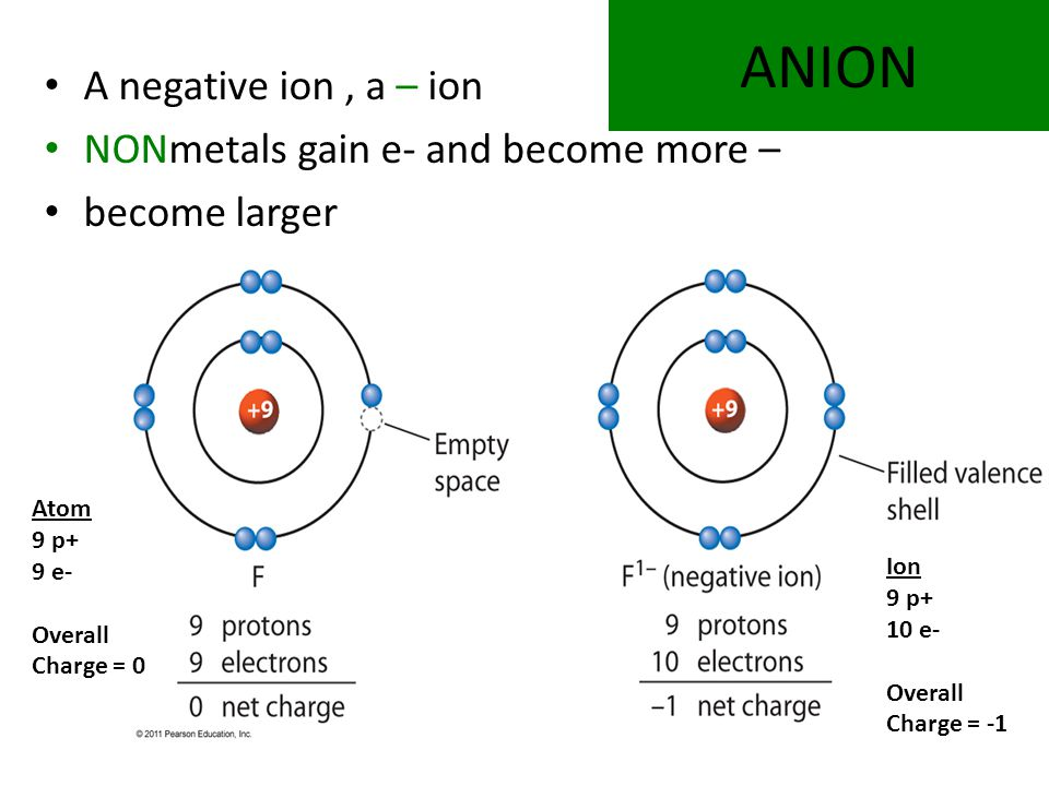 ANION A negative ion, a – ion NONmetals gain e- and become more – become larger Atom 9 p+ 9 e- Overall Charge = 0 Ion 9 p+ 10 e- Overall Charge = -1