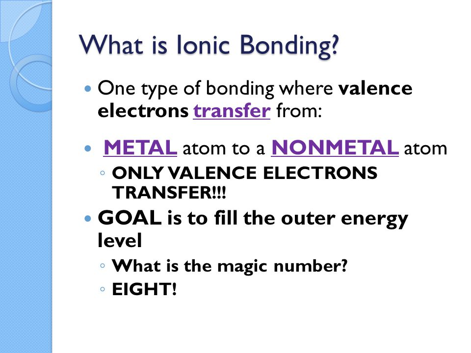 What is Ionic Bonding.