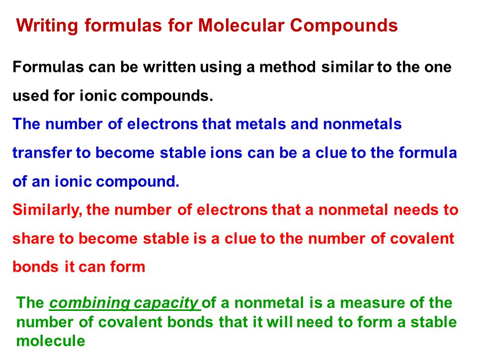 Writing formulas for Molecular Compounds Formulas can be written using a method similar to the one used for ionic compounds.