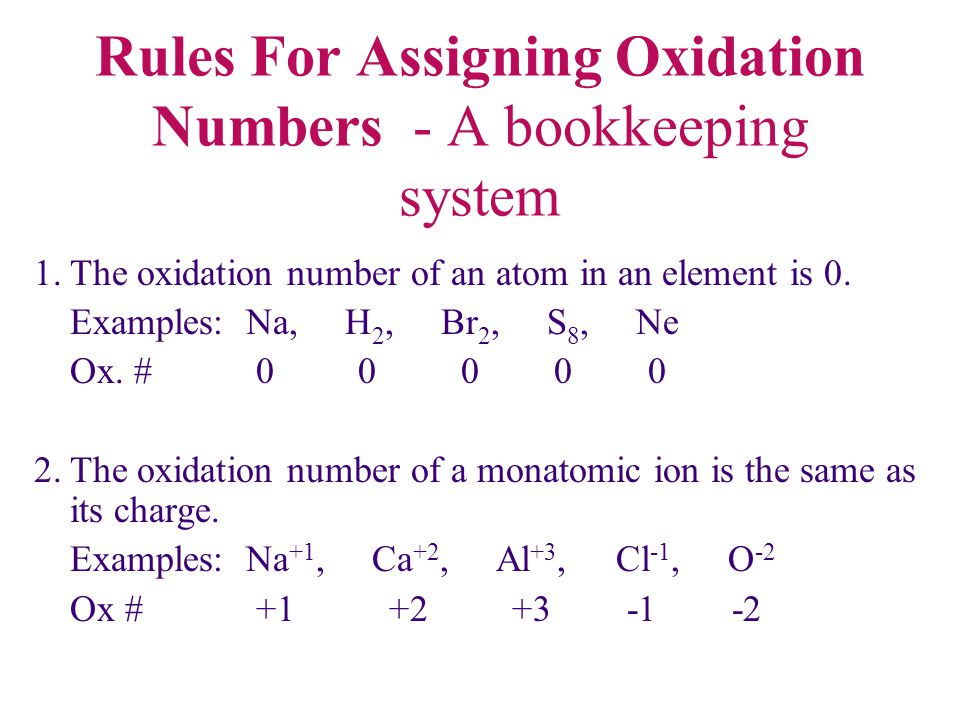 Rules For Assigning Oxidation Numbers - A bookkeeping system 1.The oxidation number of an atom in an element is 0. Examples: Na, H 2, Br 2, S 8, Ne Ox