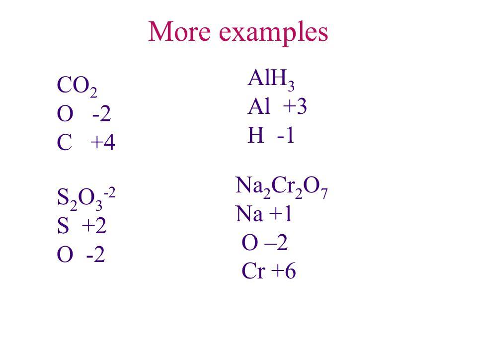 More examples AlH 3 Al +3 H -1 S 2 O 3 -2 S +2 O -2 Na 2 Cr 2 O 7 Na +1 O –2 Cr +6 CO 2 O -2 C +4