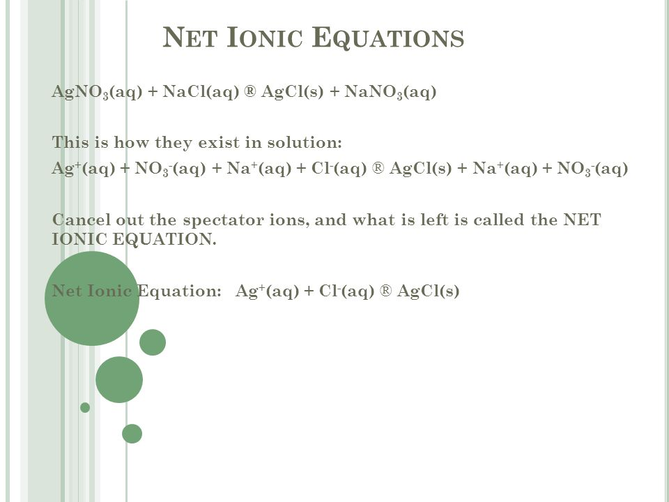 N ET I ONIC E QUATIONS AgNO 3 (aq) + NaCl(aq) ® AgCl(s) + NaNO 3 (aq) This is how they exist in solution: Ag + (aq) + NO 3 - (aq) + Na + (aq) + Cl - (aq) ® AgCl(s) + Na + (aq) + NO 3 - (aq) Cancel out the spectator ions, and what is left is called the NET IONIC EQUATION.