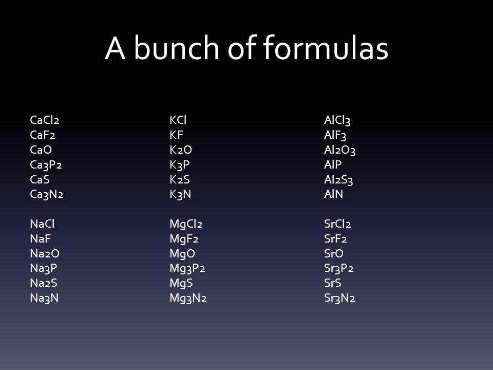 A bunch of formulas CaCl2 CaF2 CaO Ca3P2 CaS Ca3N2 NaCl NaF Na2O Na3P Na2S Na3N KCl KF K2O K3P K2S K3N MgCl2 MgF2 MgO Mg3P2 MgS Mg3N2 AlCl3 AlF3 Al2O3 AlP Al2S3 AlN SrCl2 SrF2 SrO Sr3P2 SrS Sr3N2