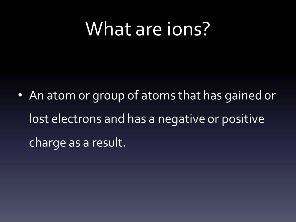 What are ions.