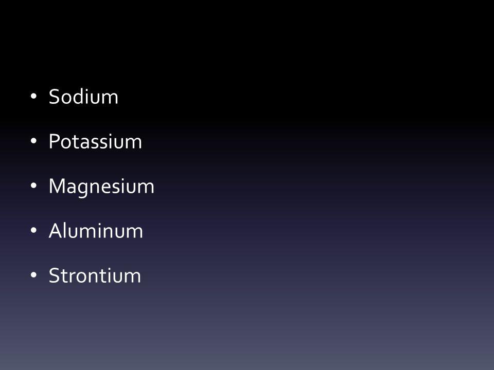 Sodium Potassium Magnesium Aluminum Strontium