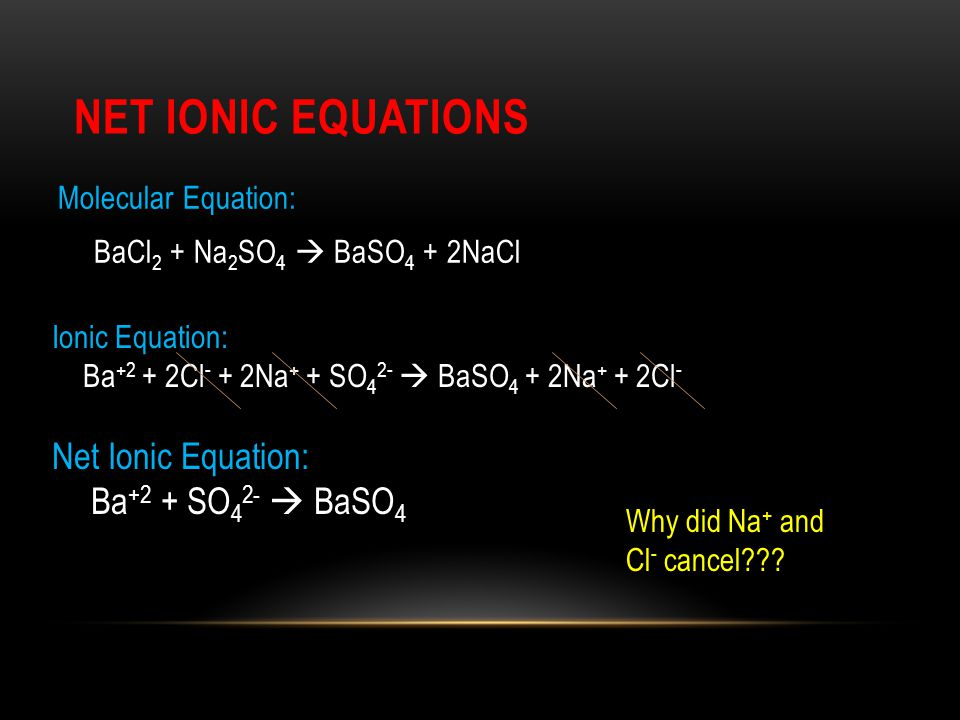 NET IONIC EQUATIONS Molecular Equation: BaCl 2 + Na 2 SO 4  BaSO 4 + 2NaCl Why did Na + and Cl - cancel??? Ionic Equation: Ba +2 + 2Cl - + 2Na + + SO