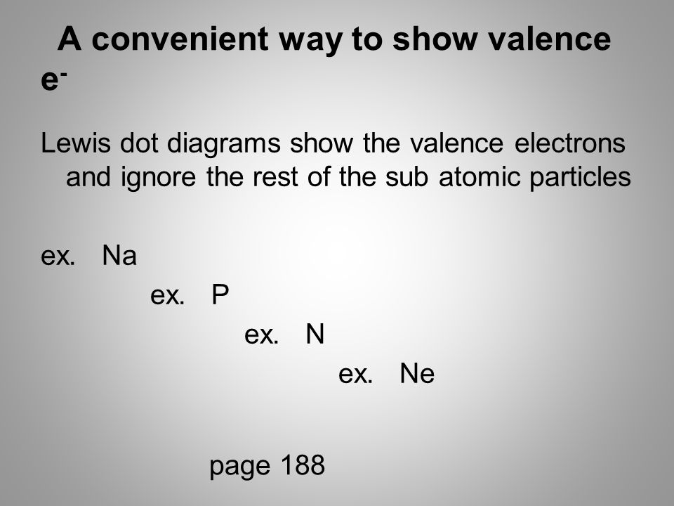 A convenient way to show valence e - Lewis dot diagrams show the valence electrons and ignore the rest of the sub atomic particles ex.