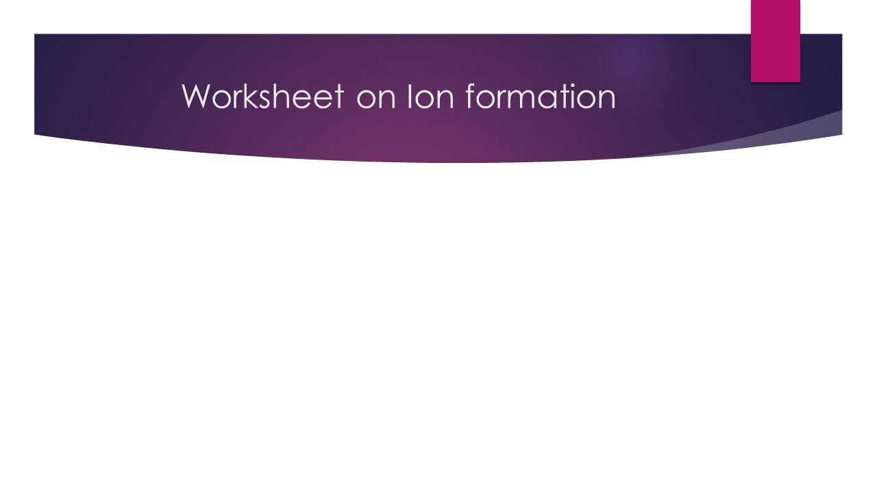 Worksheet on Ion formation