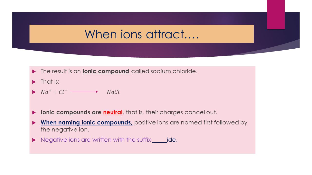 When ions attract….