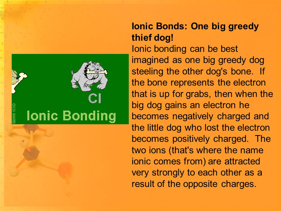 Ionic Bonds: One big greedy thief dog.