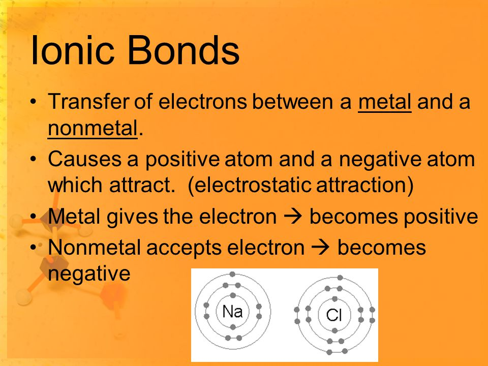 Ionic Bonds Transfer of electrons between a metal and a nonmetal.
