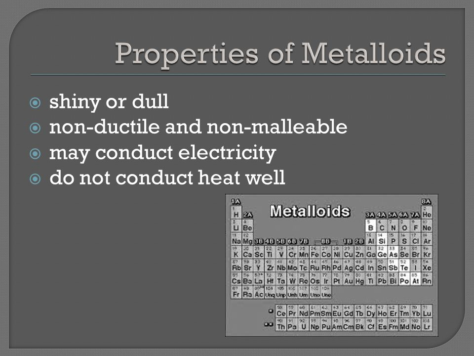  shiny or dull  non-ductile and non-malleable  may conduct electricity  do not conduct heat well