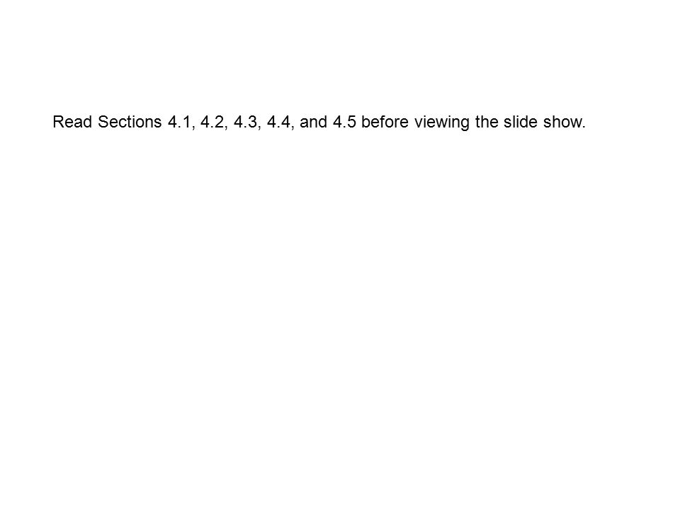 Read Sections 4.1, 4.2, 4.3, 4.4, and 4.5 before viewing the slide show.