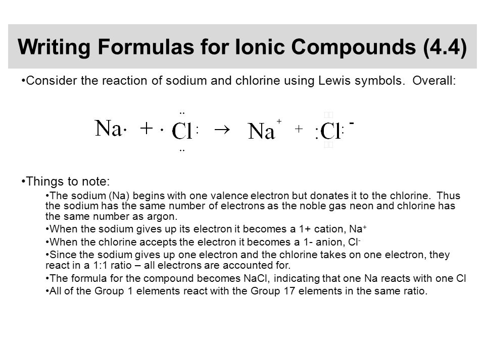 Writing Formulas for Ionic Compounds (4.4) Consider the reaction of sodium and chlorine using Lewis symbols.