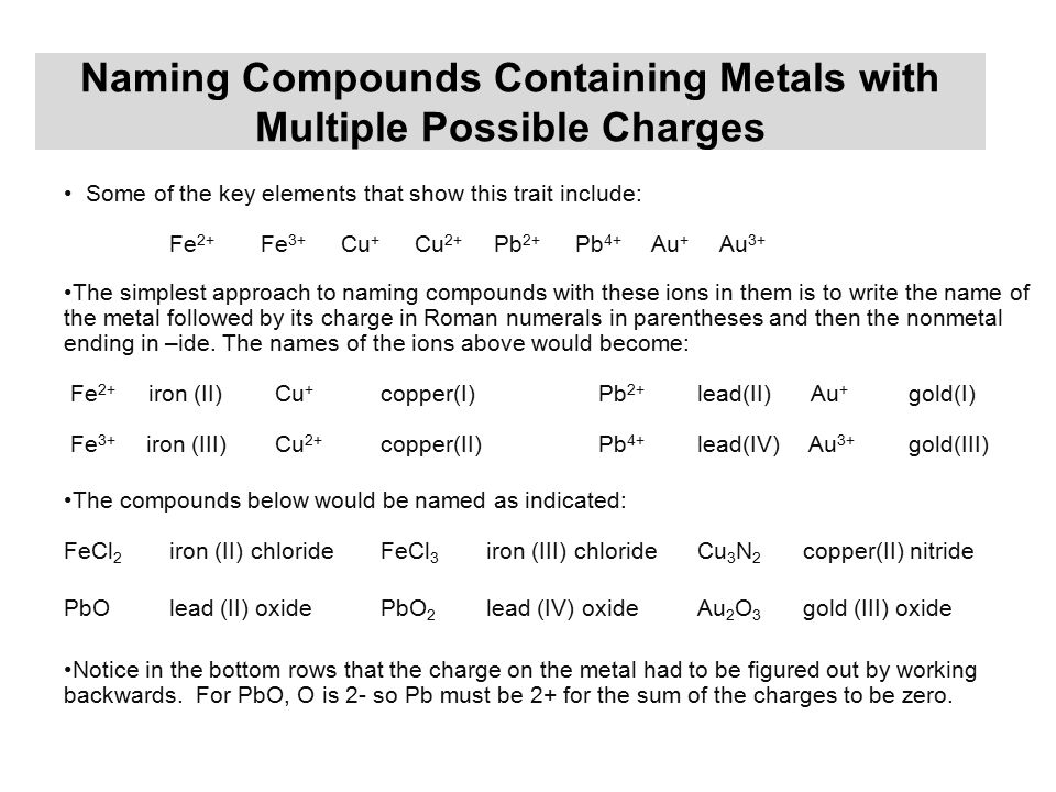 Naming Compounds Containing Metals with Multiple Possible Charges Some of the key elements that show this trait include: Fe 2+ Fe 3+ Cu + Cu 2+ Pb 2+ Pb 4+ Au + Au 3+ The simplest approach to naming compounds with these ions in them is to write the name of the metal followed by its charge in Roman numerals in parentheses and then the nonmetal ending in –ide.