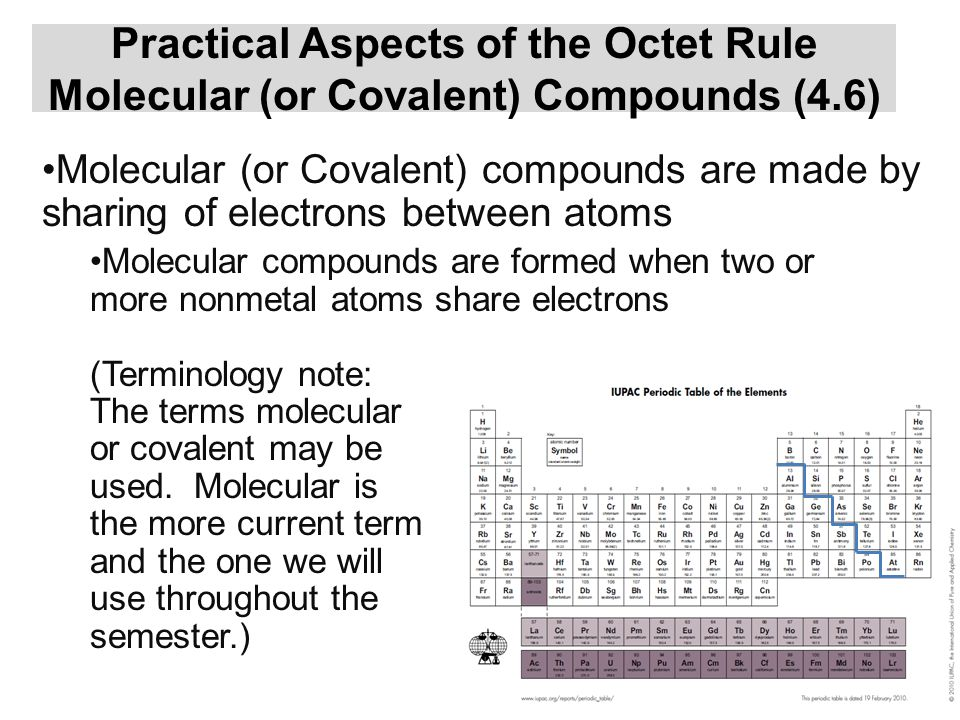 Nomenclature of Binary Ionic Compounds(4.5) Naming binary ionic compounds involves two key rules The metal retains its name The nonmetal ending changes to –ide For example: BaO → barium oxide K 2 S → potassium sulfide SrCl 2 → strontium chloride Al 2 S 3 → aluminum sulfide Ca 3 N 2 → calcium nitride