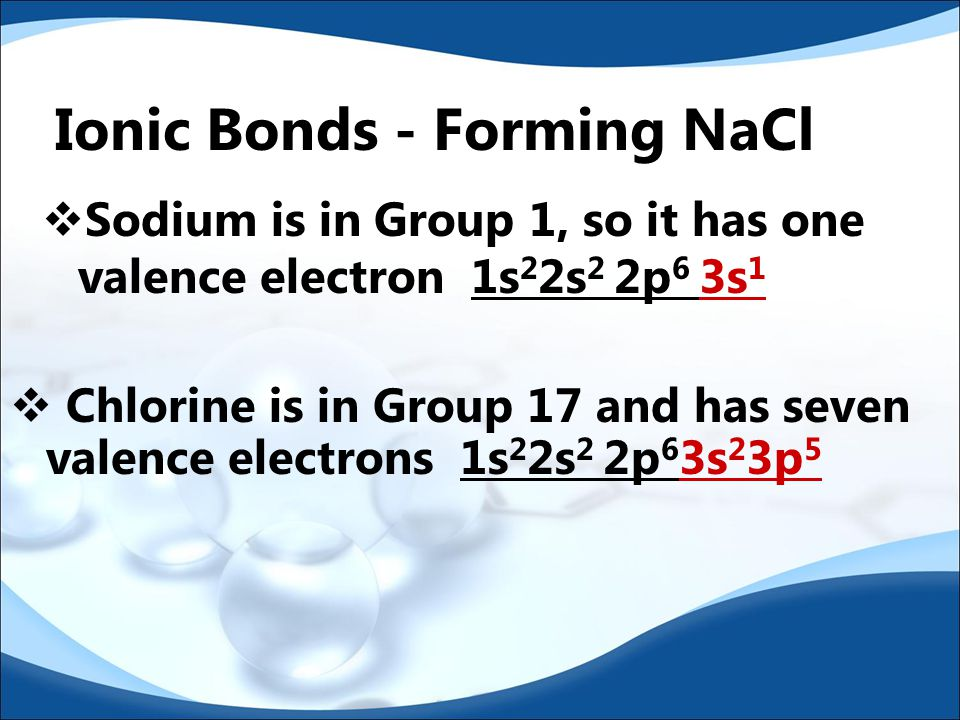 Ionic Bonds - Forming NaCl  Sodium is in Group 1, so it has one valence electron 1s 2 2s 2 2p 6 3s 1  Chlorine is in Group 17 and has seven valence electrons 1s 2 2s 2 2p 6 3s 2 3p 5
