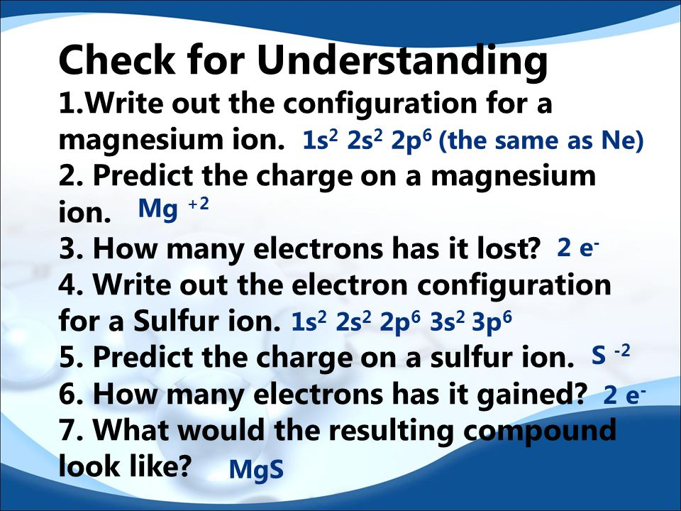 Check for Understanding 1.Write out the configuration for a magnesium ion.