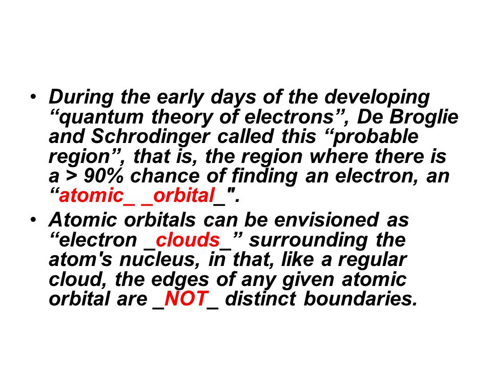 During the early days of the developing quantum theory of electrons , De Broglie and Schrodinger called this probable region , that is, the region where there is a > 90% chance of finding an electron, an atomic_ _orbital_ .