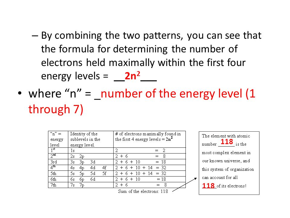 – By combining the two patterns, you can see that the formula for determining the number of electrons held maximally within the first four energy leve