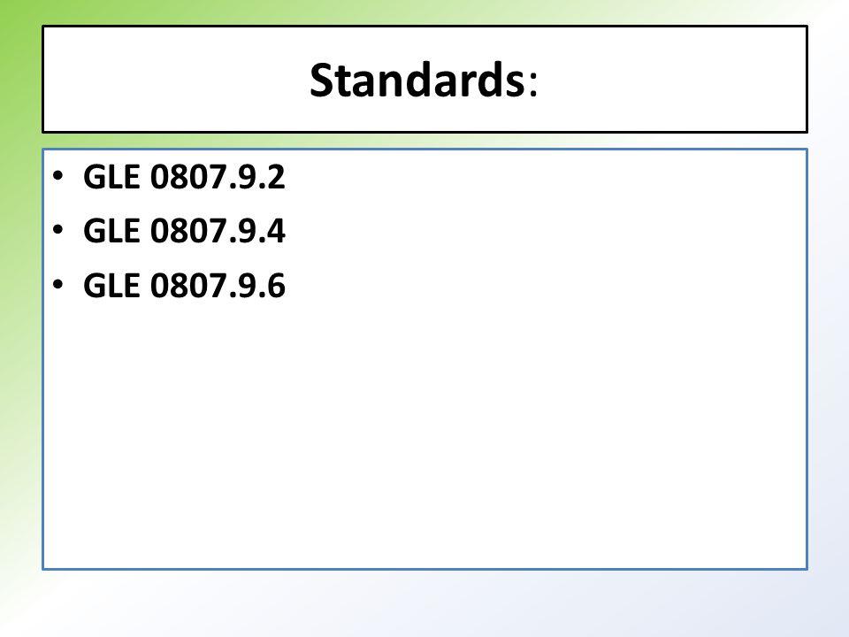 Standards: GLE 0807.9.2 GLE 0807.9.4 GLE 0807.9.6
