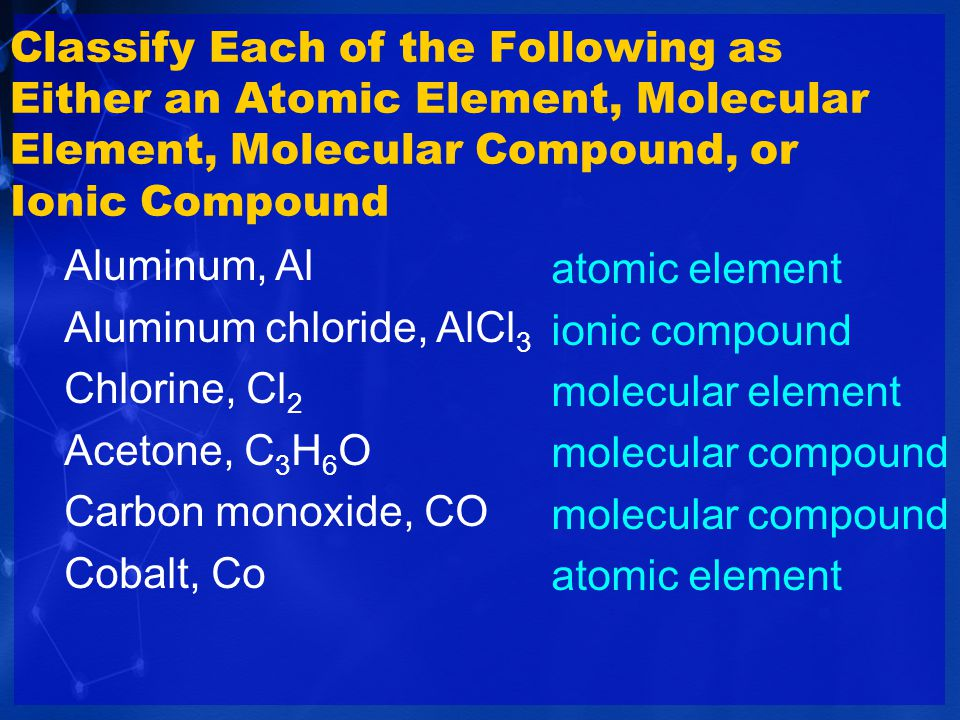 A chemical formula denotes the composition of the substance.