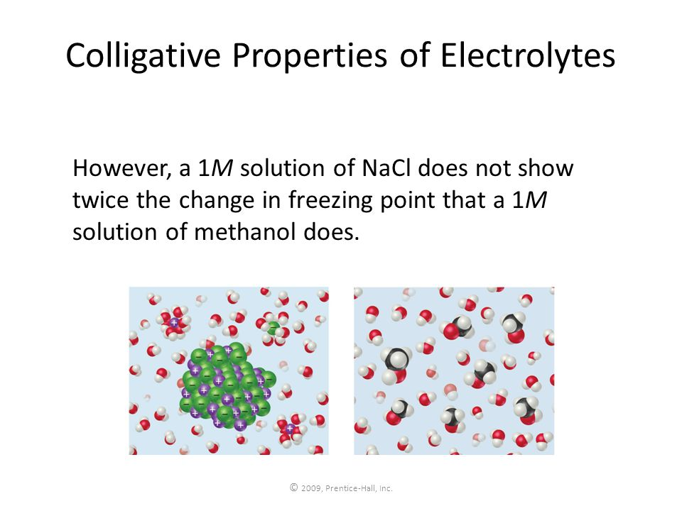 © 2009, Prentice-Hall, Inc. Colligative Properties of Electrolytes However, a 1M solution of NaCl does not show twice the change in freezing point tha