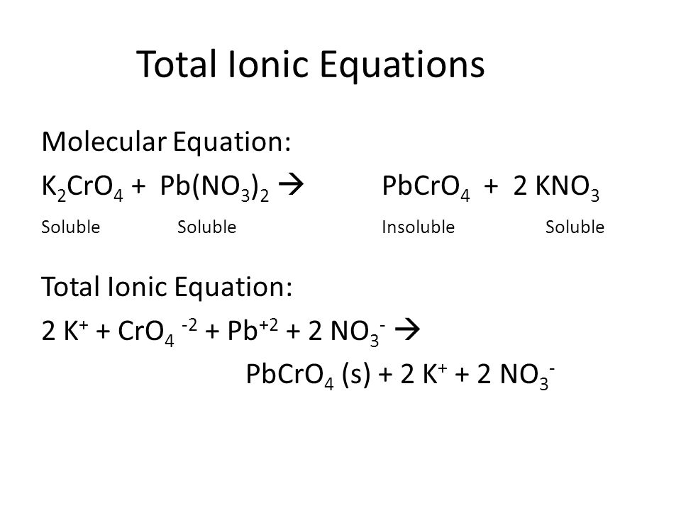 Total Ionic Equations Molecular Equation: K 2 CrO 4 + Pb(NO 3 ) 2  PbCrO 4 + 2 KNO 3 SolubleSolubleInsoluble Soluble Total Ionic Equation: 2 K + + CrO 4 -2 + Pb +2 + 2 NO 3 -  PbCrO 4 (s) + 2 K + + 2 NO 3 -