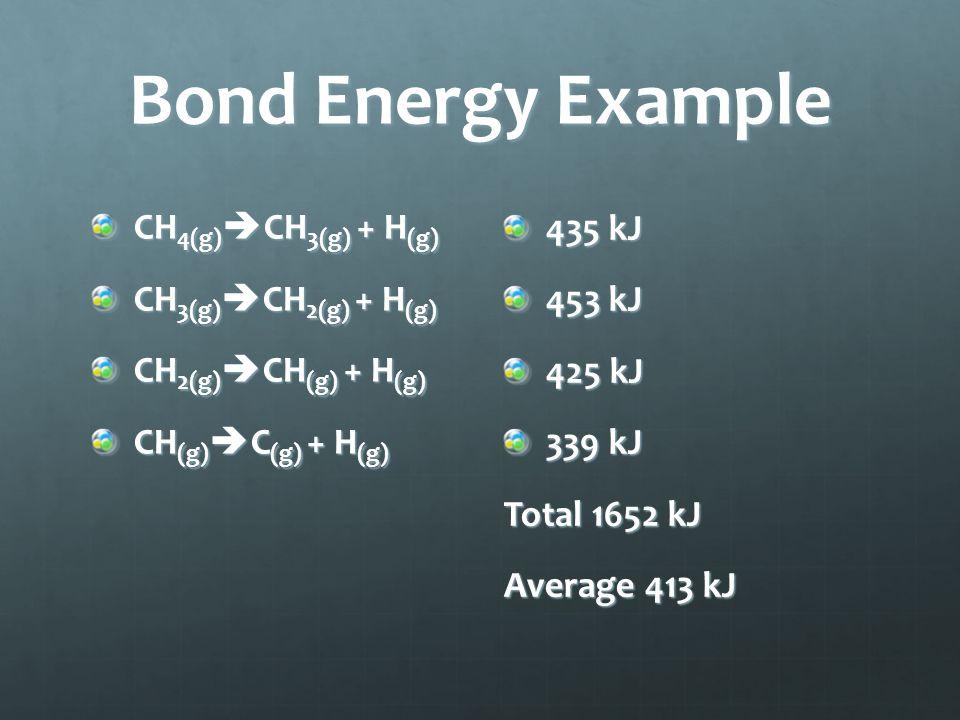 Bond Energy Example CH 4(g)  CH 3(g) + H (g) CH 3(g)  CH 2(g) + H (g) CH 2(g)  CH (g) + H (g) CH (g)  C (g) + H (g) 435 kJ 453 kJ 425 kJ 339 kJ Total 1652 kJ Average 413 kJ