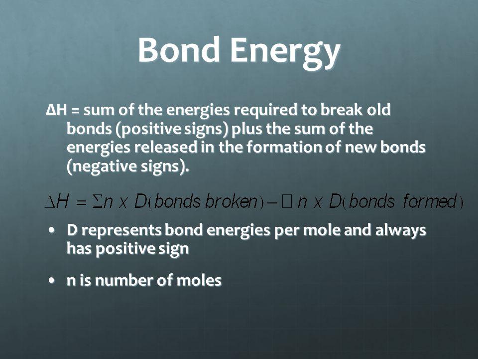 ΔH = sum of the energies required to break old bonds (positive signs) plus the sum of the energies released in the formation of new bonds (negative signs).