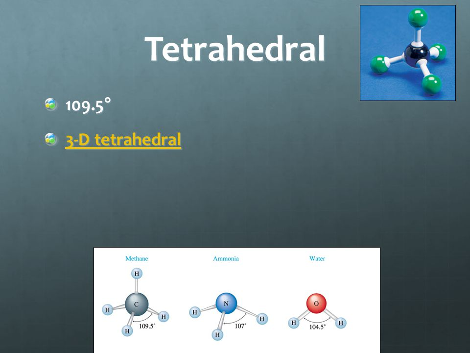 Tetrahedral 109.5° 3-D tetrahedral 3-D tetrahedral
