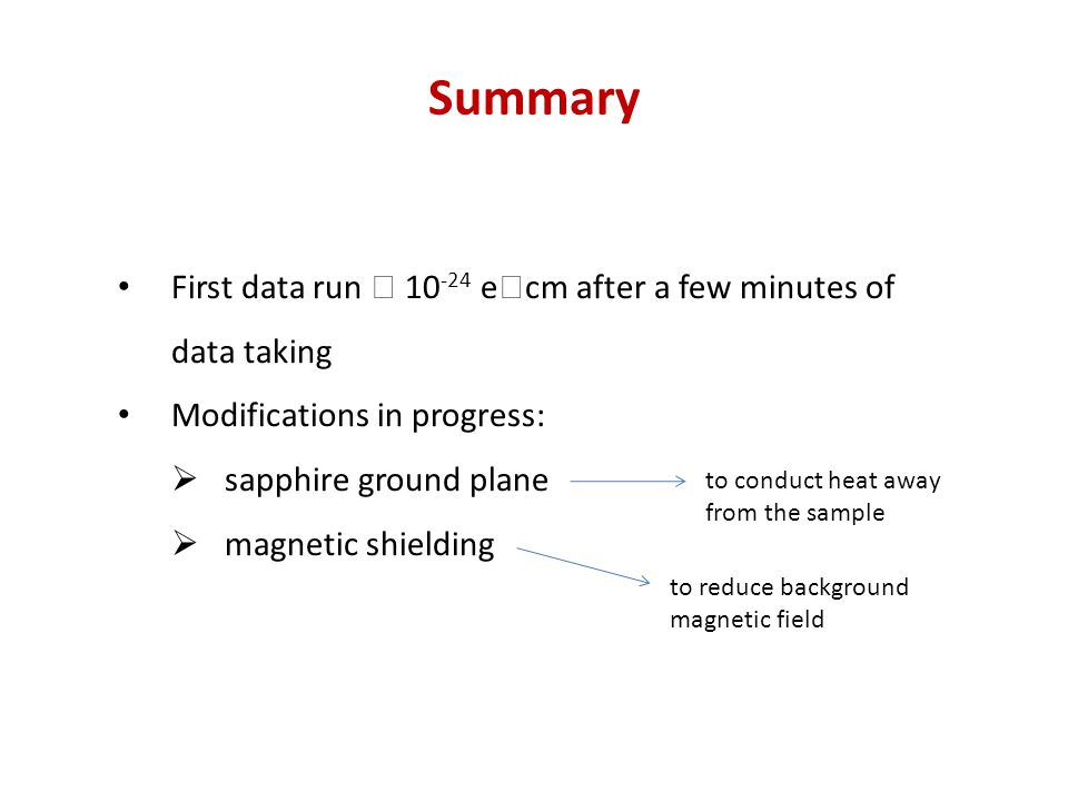 Summary First data run  10 -24 e  cm after a few minutes of data taking Modifications in progress:  sapphire ground plane  magnetic shielding to conduct heat away from the sample to reduce background magnetic field