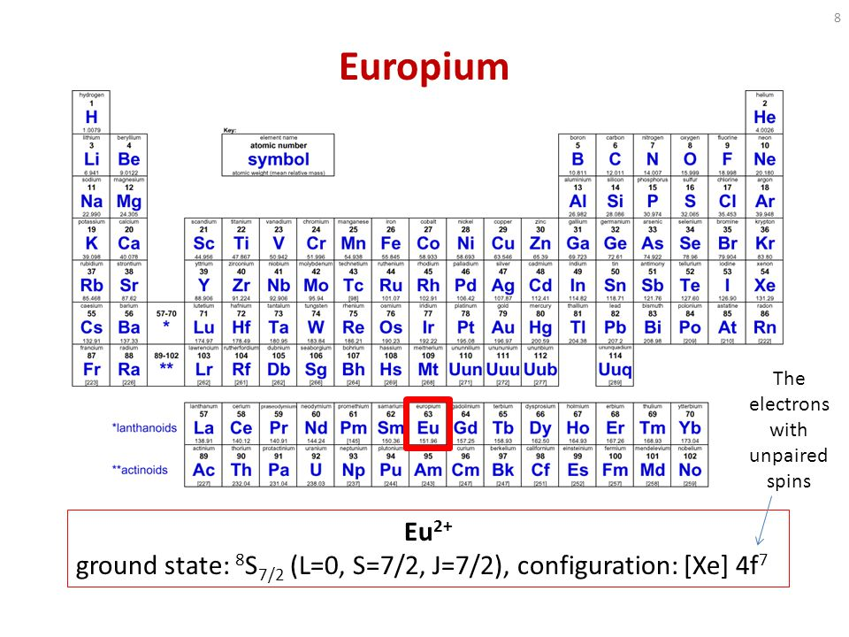 Europium Eu 2+ ground state: 8 S 7/2 (L=0, S=7/2, J=7/2), configuration: [Xe] 4f 7 The electrons with unpaired spins 8