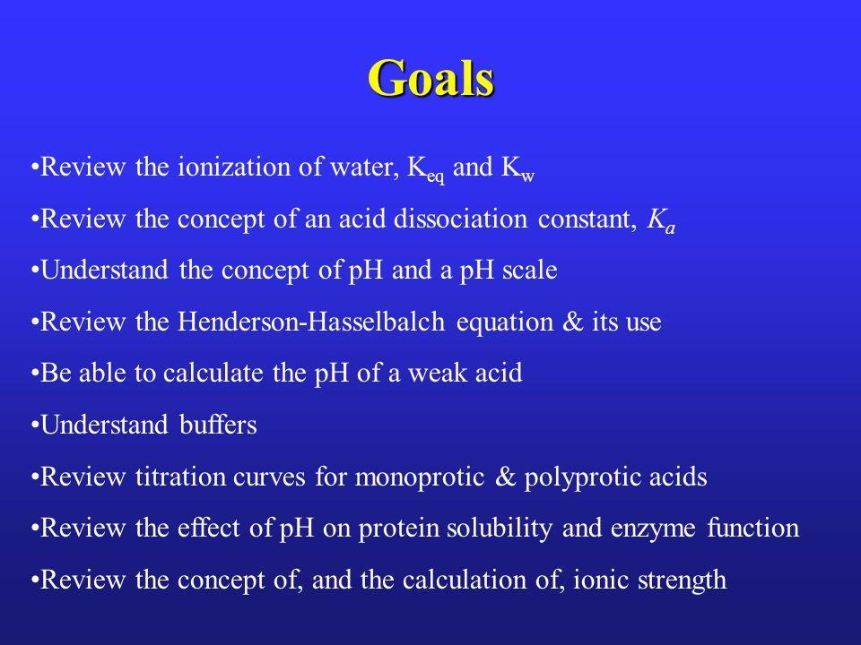 pH of a Weak Acid Solution Calculation II A HA  H+A- Start0.2M00 Change-(0.1% of 0.2M) =-(2 x 10 -4 M) +(2 x 10 -4 M) +(2 x 10 -4 M) Equilibrium 0.2M -(2 x 10 -4 M) (2 x 10 -4 M) (2 x 10 -4 M) [H+] [A-] (2 x 10 -4 M) x (2 x 10 -4 M) K a = [HA]= (0.2 M - 2 x 10 -4 M) 4 x 10 -8 K a = 1.998 x 10 -1 = 2 x 10 -7 Segal 1975