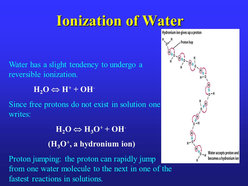K eq and K w A + B  C + D K eq = [C] [D] [A][B] [] concentration approximates the activity coefficient FOR WATER: H 2 O  H + + OH - K eq = [H + ] [OH - ] [H 2 O] In pure water at 25 ºC [H 2 O] =55.5 M i.e., essentially constant compared to ions Therefore we can write : (55.5 M) (K eq ) = [H + ] [OH - ] = K w (ion product of water) K w = 1 * 10 -14 @ 25.0 ºC