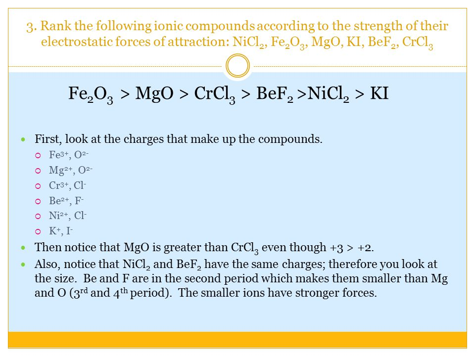 3. Rank the following ionic compounds according to the strength of their electrostatic forces of attraction: NiCl 2, Fe 2 O 3, MgO, KI, BeF 2, CrCl 3