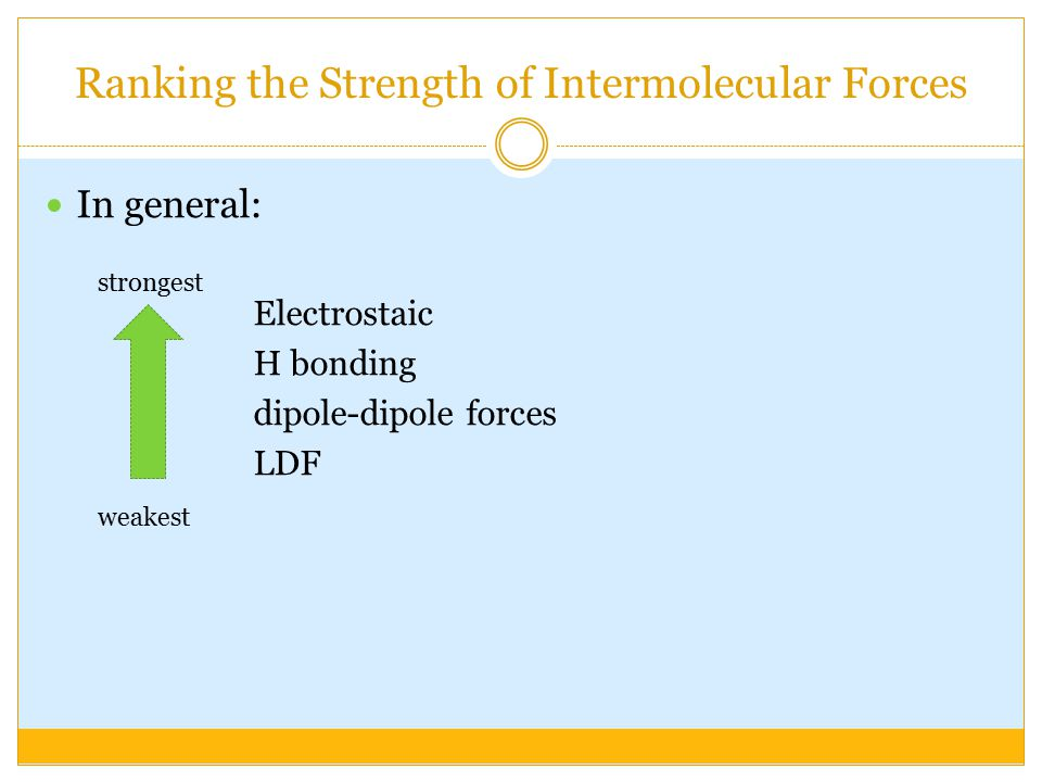 Ranking the Strength of Intermolecular Forces In general: Electrostaic H bonding dipole-dipole forces LDF weakest strongest