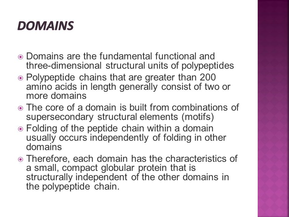  Domains are the fundamental functional and three-dimensional structural units of polypeptides  Polypeptide chains that are greater than 200 amino a