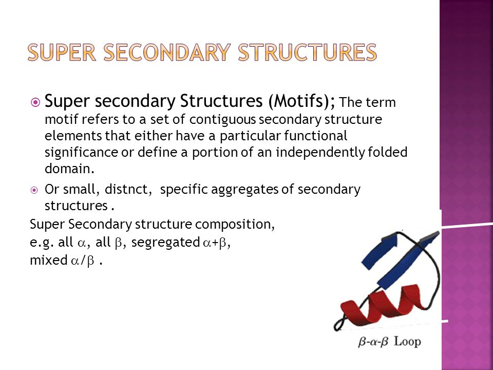  Super secondary Structures (Motifs); The term motif refers to a set of contiguous secondary structure elements that either have a particular functio