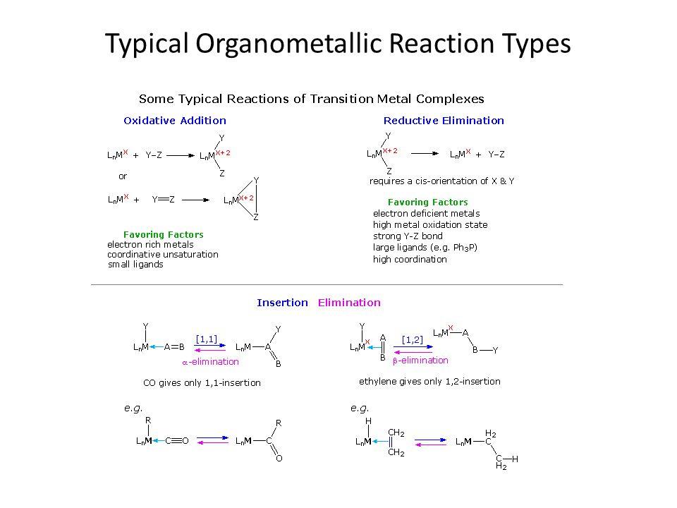 Typical Organometallic Reaction Types