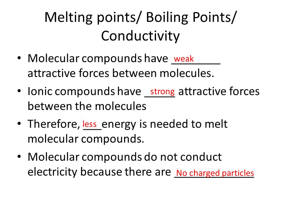 Melting points/ Boiling Points/ Conductivity Molecular compounds have ________ attractive forces between molecules. Ionic compounds have _____ attract
