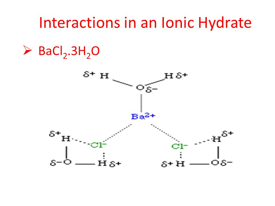 Interactions in an Ionic Hydrate  BaCl 2.3H 2 O