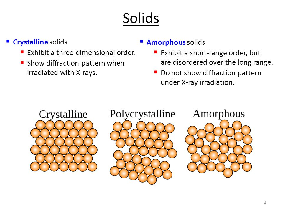 2 Solids  Crystalline solids  Exhibit a three-dimensional order.