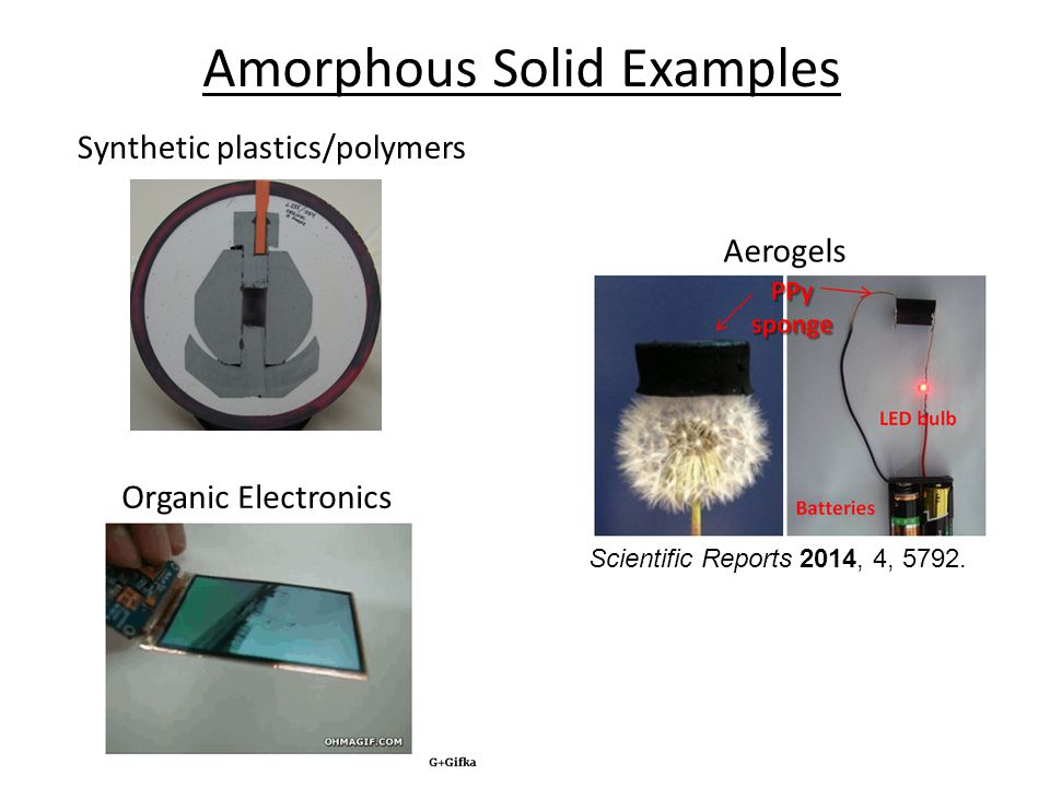 Amorphous Solid Examples Synthetic plastics/polymers Aerogels Scientific Reports 2014, 4, 5792.