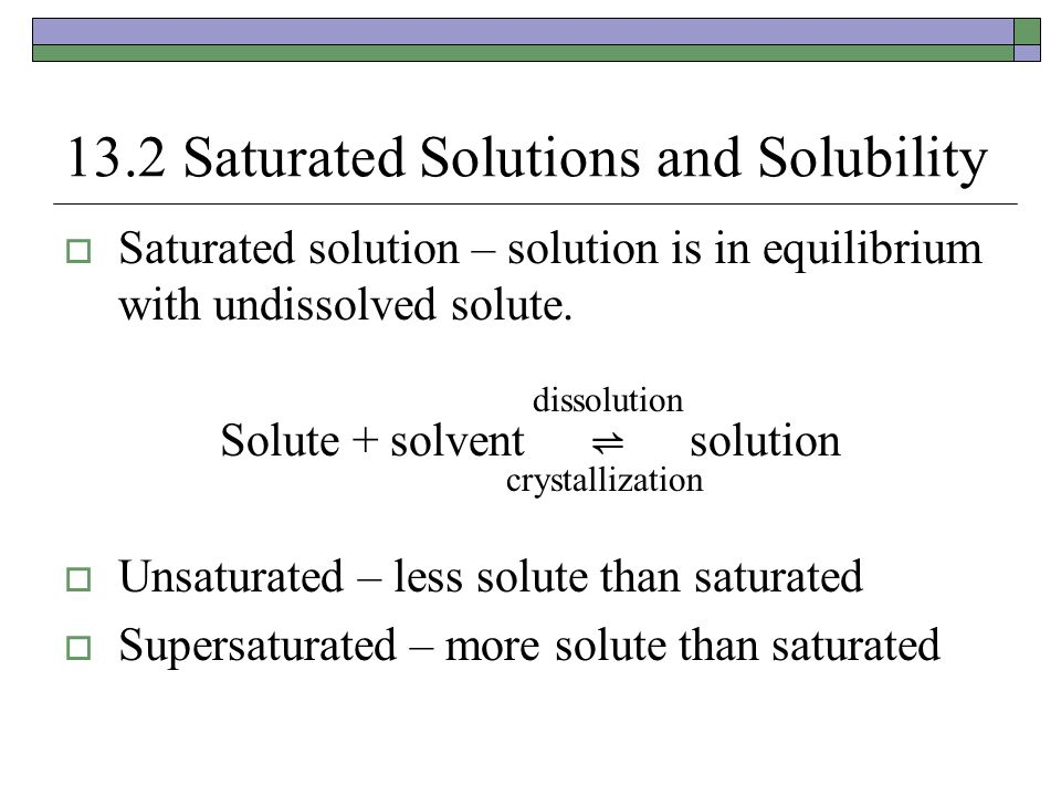 A Saturated Solution A dynamic equilibrium – ions continually exchange between the solid and solution form.
